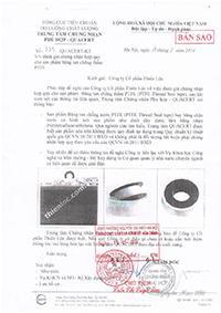 Chứng chỉ chất lượng áp dụng cho Băng tan chống thấm TOMLO